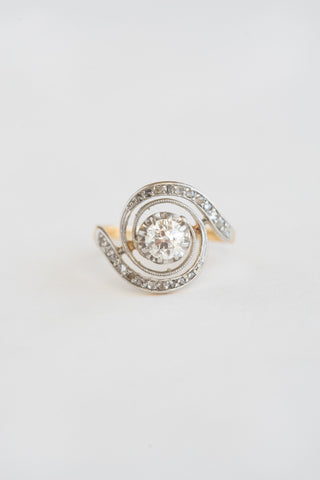 Edwardian Diamond Swirl Ring