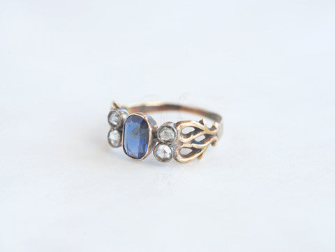 Antique Arts & Crafts Diamond and Sapphire Ring