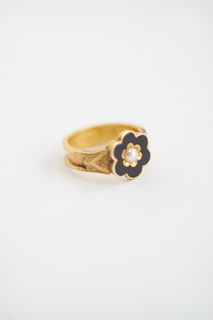 Antique Enamel and Pearl Memorial Ring