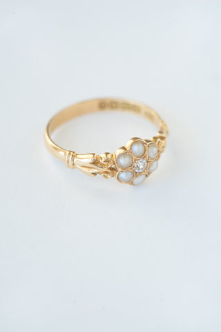 Victorian English Diamond and Seed Pearl Ring