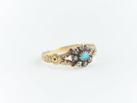 Georgian Antique Turquoise and Diamond Ring