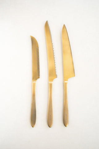 Pomme Gold Plated Knife Trio