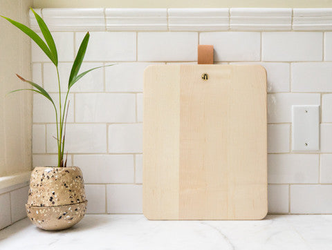 Jacob May Cutting Board - Bleached Maple with Strap