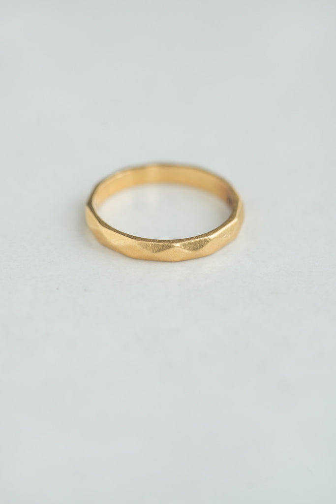 Mid-century Faceted 22k Gold Band