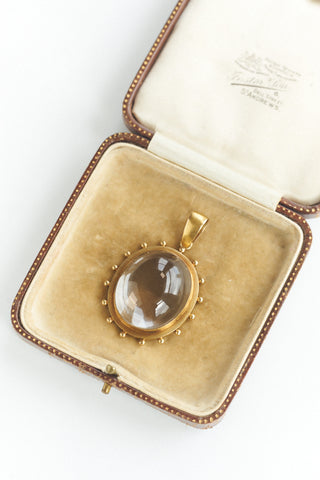 Antique Victorian Gold Rock Quartz Pendant