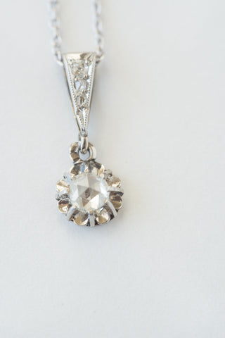 Antique Rosecut Diamond Pendant & Necklace