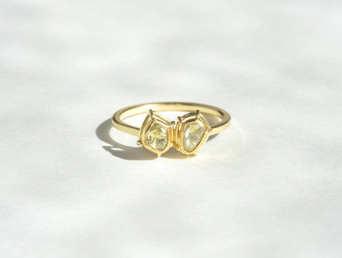 Tura Sugden Rough Green Diamond Ring