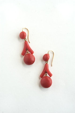 Victorian 14k Gold & Coral Earrings