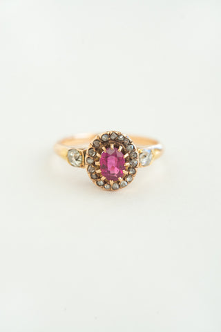 Petite Victorian Diamond & Ruby Ring