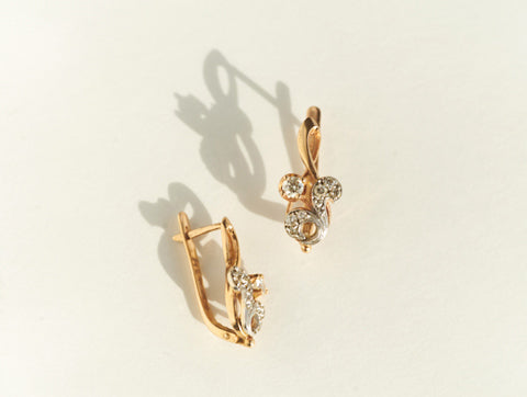 Vintage 14k Diamond Flora Earrings