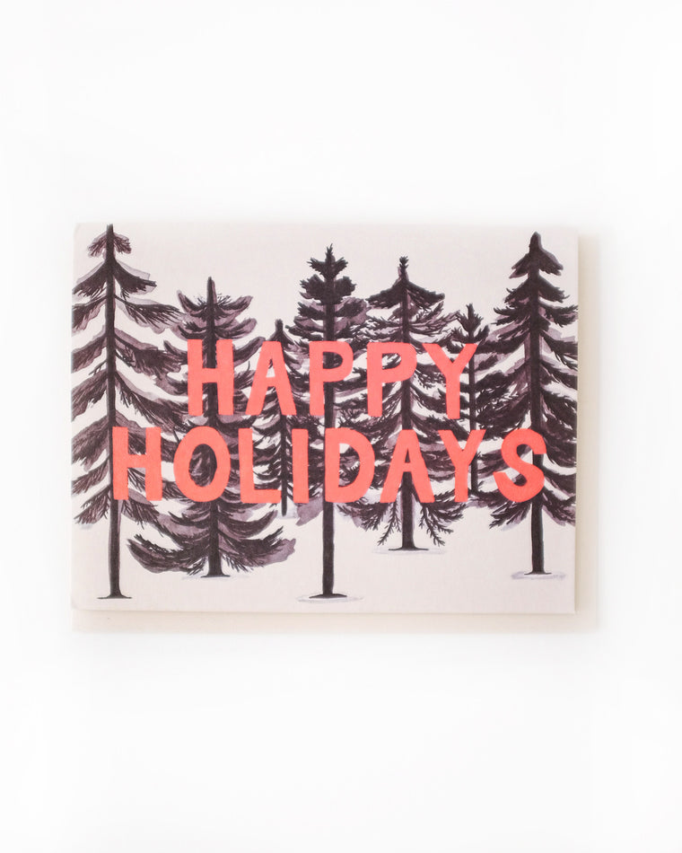 Inky Forest Happy Holidays Card