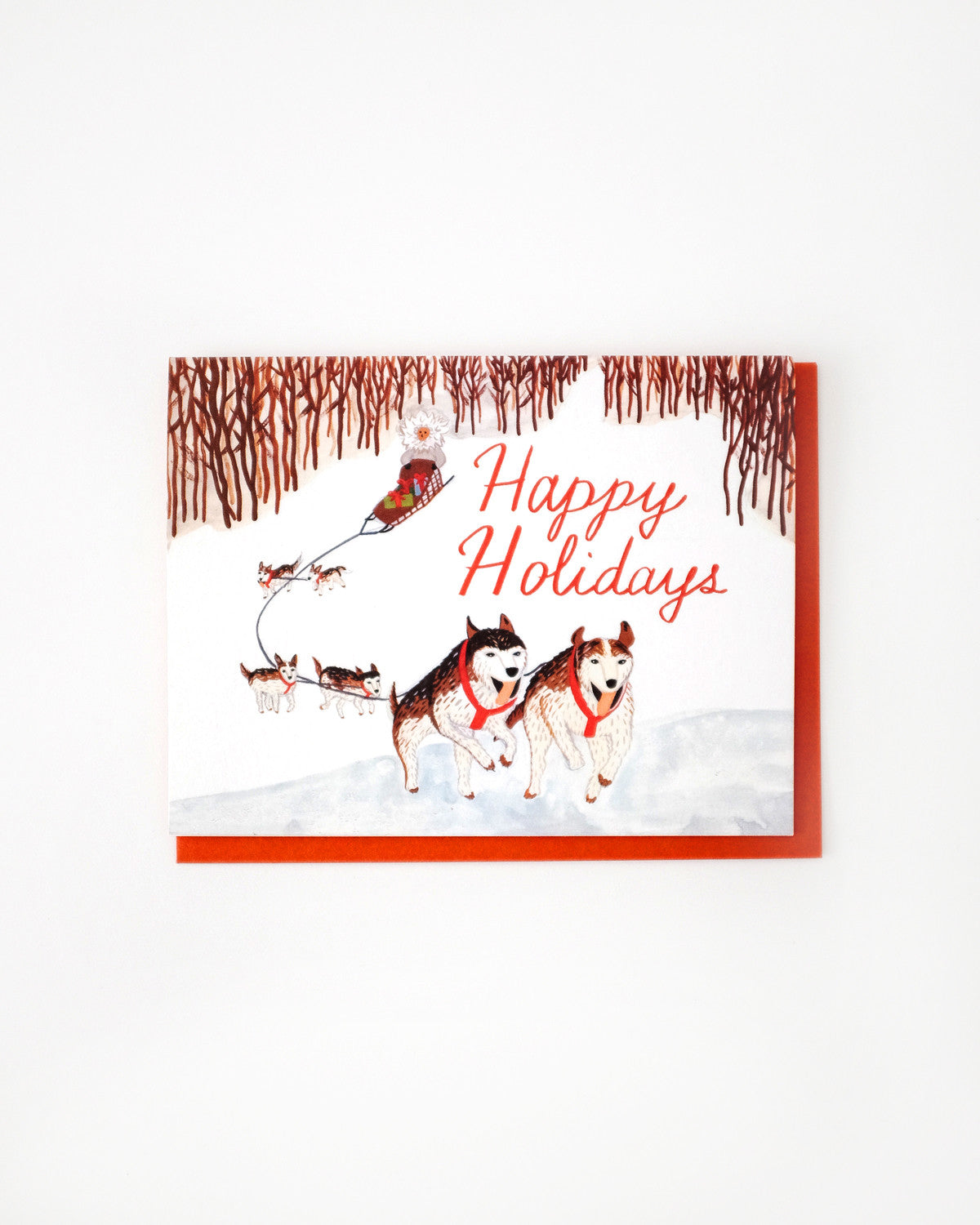 dog sled happy holidays card - Happy Holidays Card