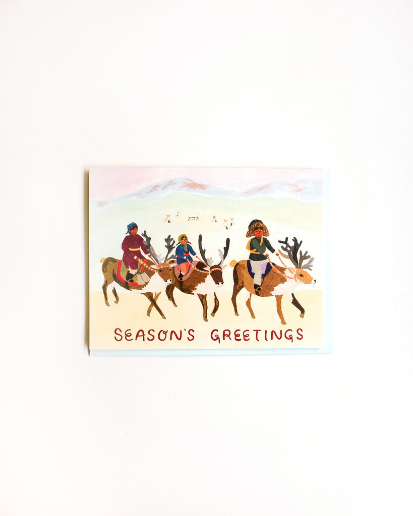 Reindeer Village Seasons Greetings Card