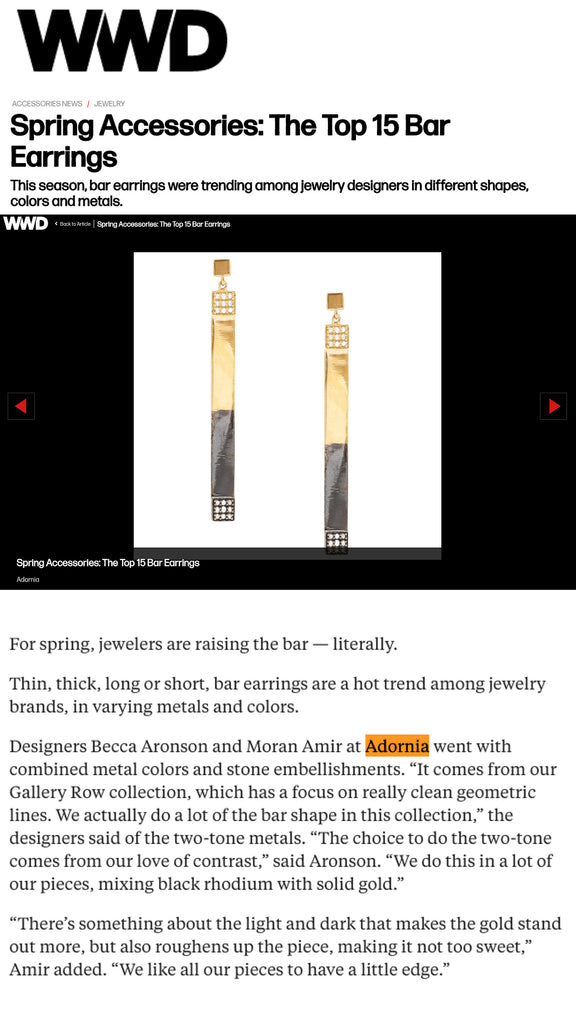 ADORNIA featured in WWD