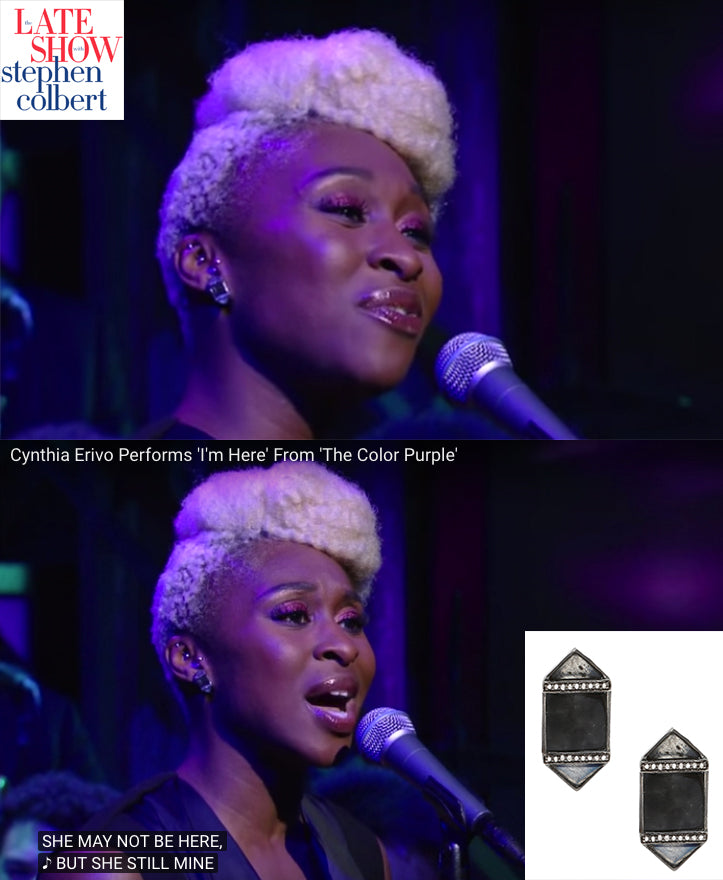 Tony Nominee Cynthia Erivo wears ADORNIA on The Late Show with Stephen Colbert