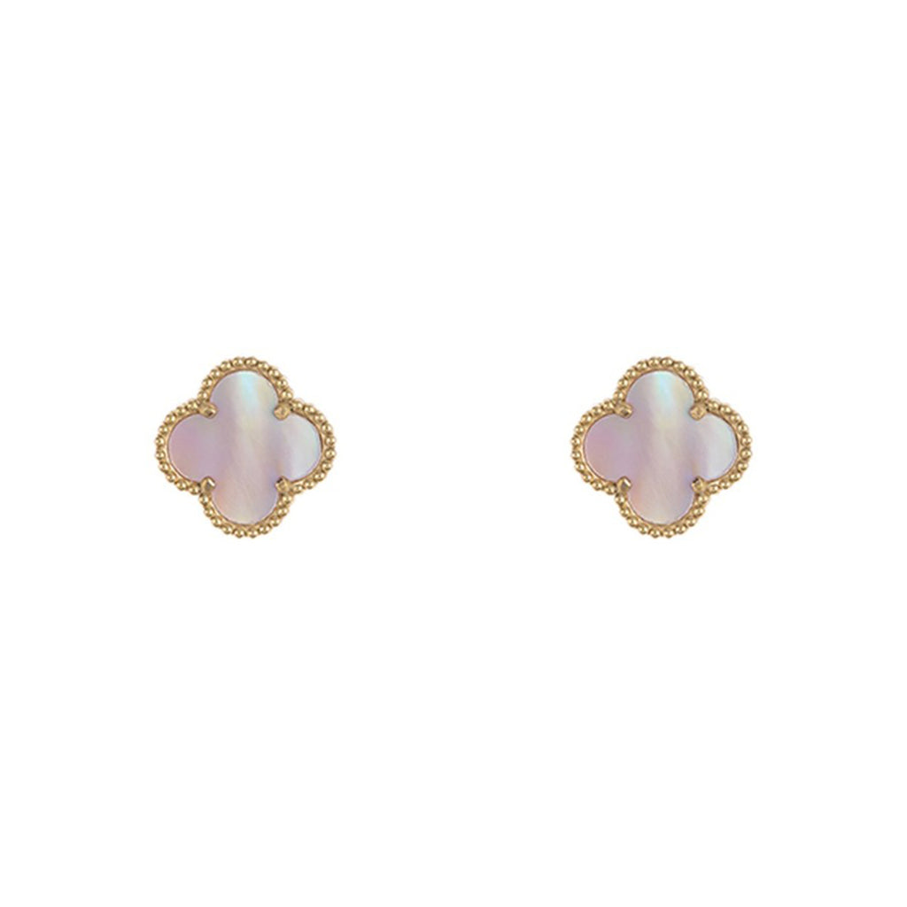 Quatrefoil Pink Mother of Pearl Clover Stud Earrings gold