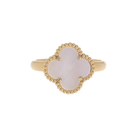Quatrefoil Clover Pink Mother of Pearl Ring gold