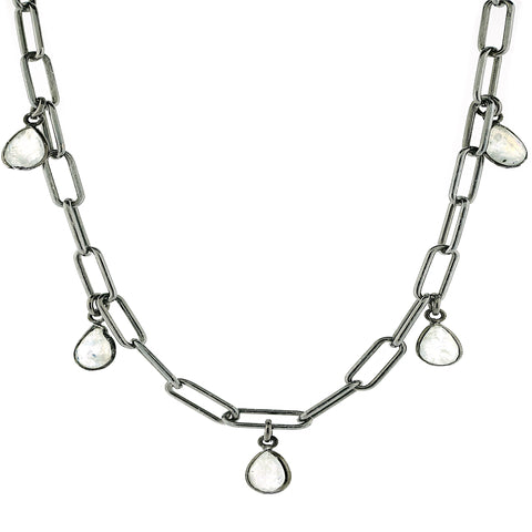 Moonstone Pear Droplet Link Chain Necklace