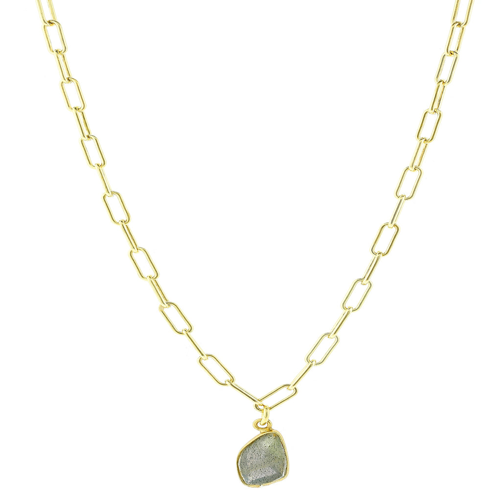 Labradorite Link Chain Gold Necklace