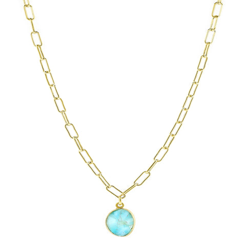 Link Paper Clip Chain Necklace larimar silver gold