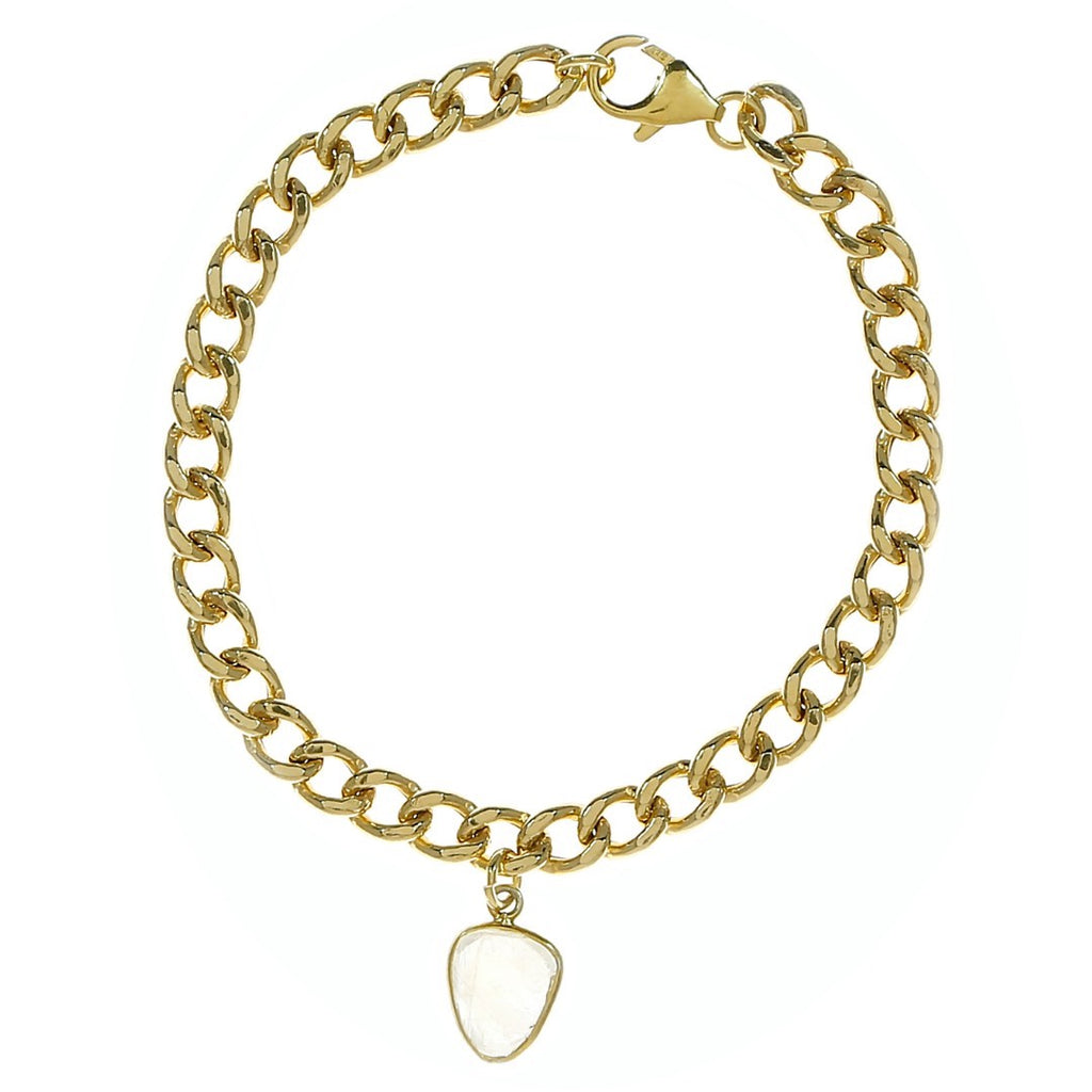 Moonstone Curb Chain Gold Bracelet silver gold