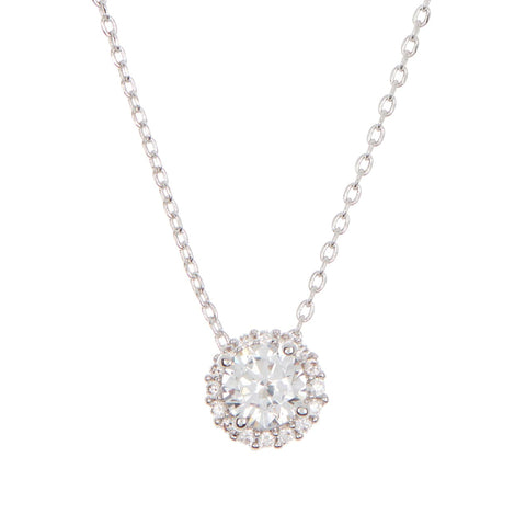 Crystal Floating Halo Necklace silver gold