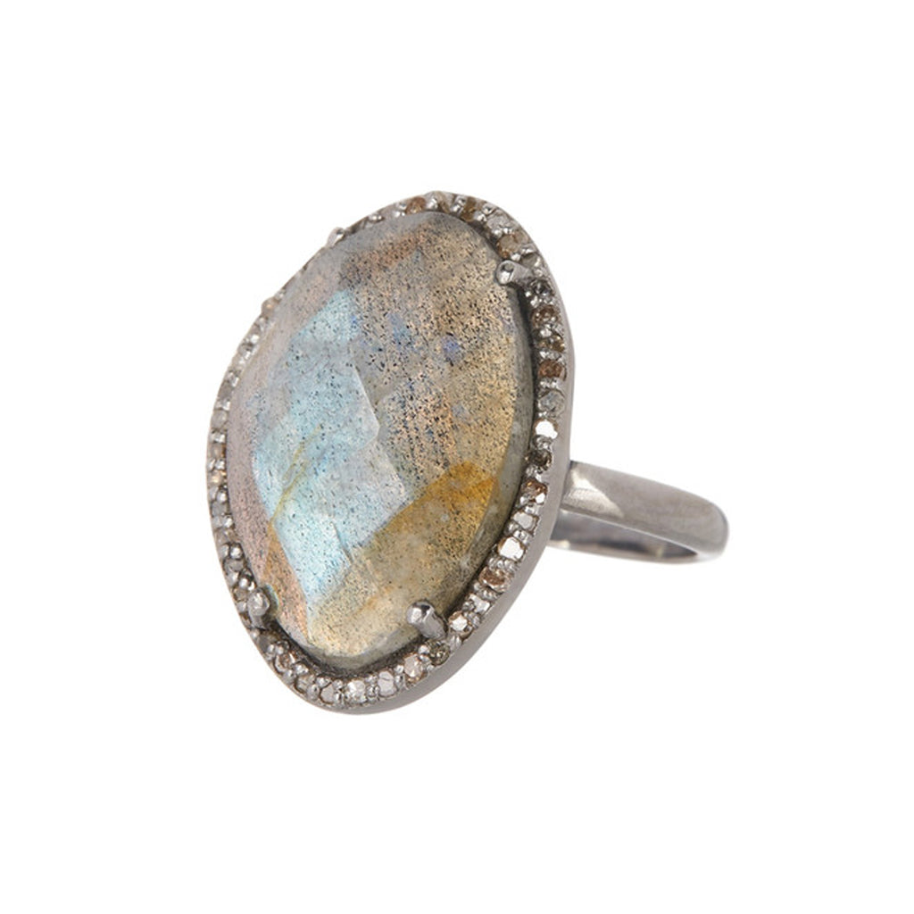 Mini Sasha Labradorite Diamond Halo Ring labradorite silver