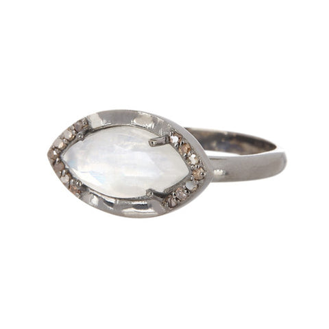 Mini Marquise Moonstone Diamond Halo Ring moonstone silver