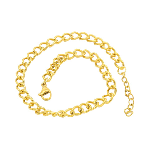 Curb Chain Anklet silver gold