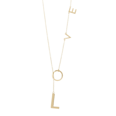 Love Lariat Necklace 14 Karat Gold
