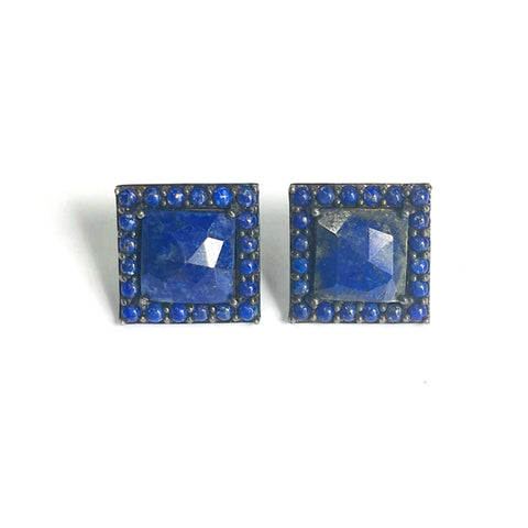 Lapis Square Halo Stud Earrings silver