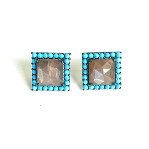 Chocolate Moonstone Square Halo Stud Earrings silver