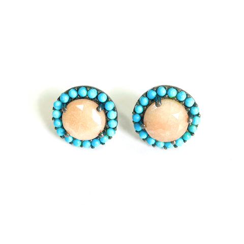 Peach Moonstone Halo Stud Earrings silver