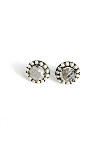 Floral Halo Stud Earrings clear quartz freshwater pearl silver