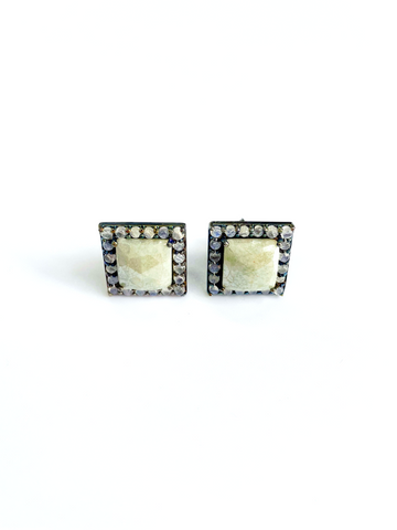 Grey Moonstone Square Halo Stud Earrings silver