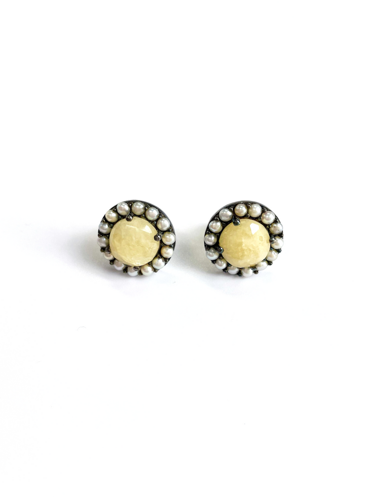 Floral Halo Stud Earrings yellow sapphire freshwater pearl silver