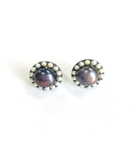 Black Pearl Halo Stud Earrings silver