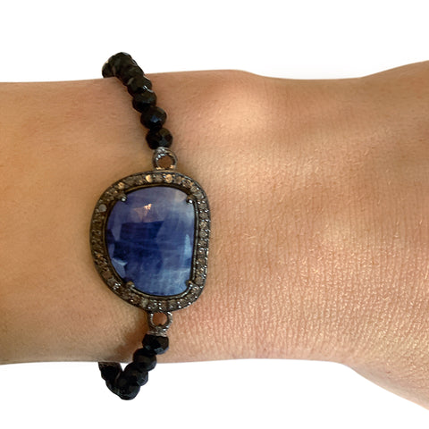 Stretch Diamond Bracelet blue sapphire black spinel