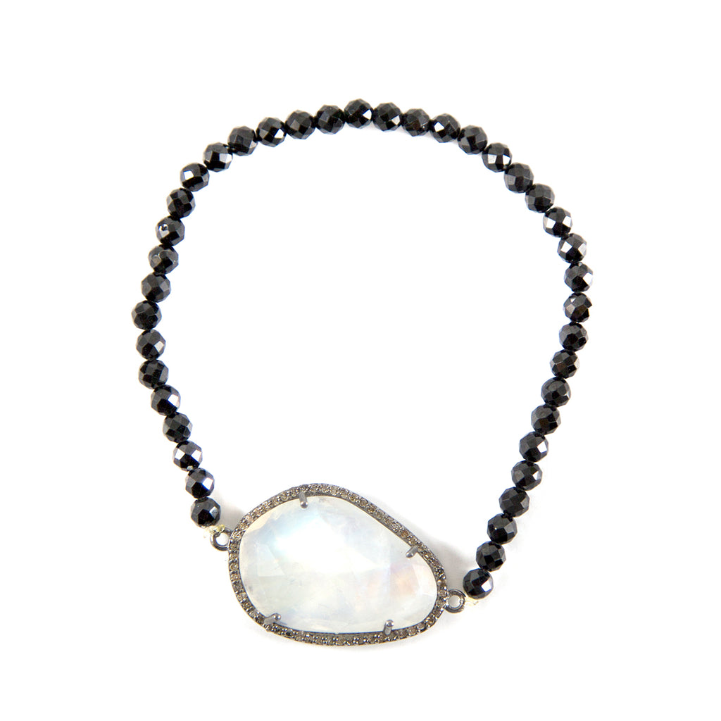 Stretch Bracelet moonstone black spinel