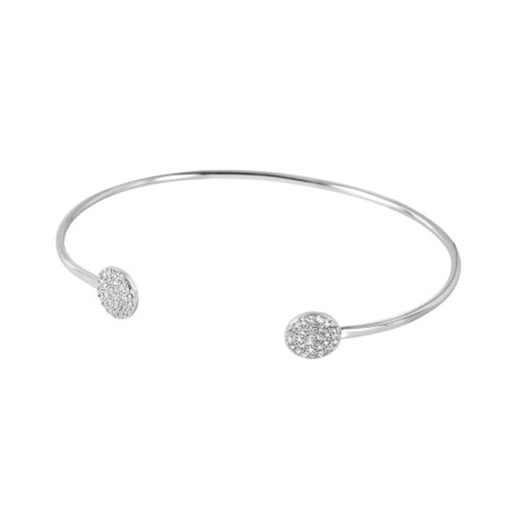 Open Cuff with Crystal Circle Ends silver