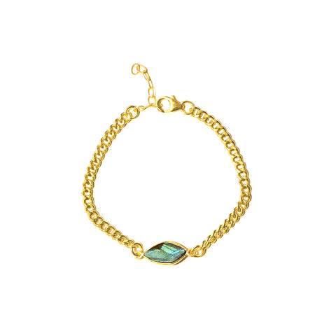 Curb Chain Bracelet with Labradorite Centerpiece gold labradorite