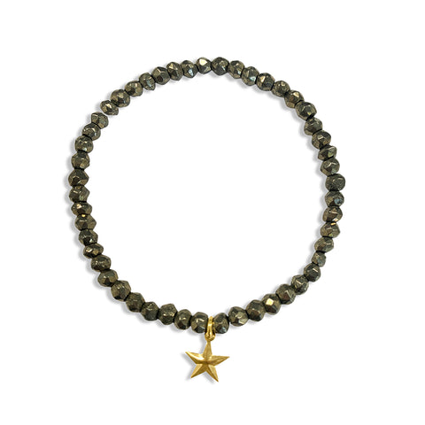 Pyrite Beaded Stretch Bracelet with Star Charm
