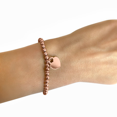 Beaded Stretch Bracelet with Heart Charm silver gold rose gold
