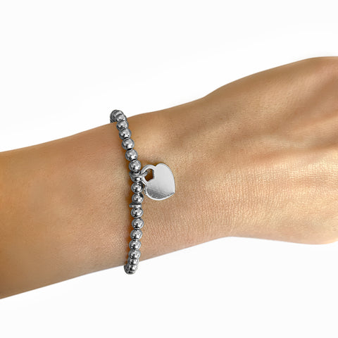 Customized Stretch Bracelet Set silver