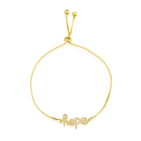 Adjustable Cursive Hope Bracelet with Pull Ties silver gold