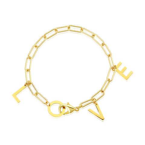 LOVE Paper Clip Chain Bracelet gold