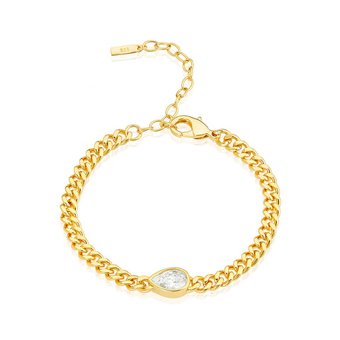 Pear Cut Sideways Stone Curb Chain Bracelet gold