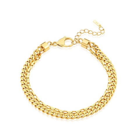 Layered Two Chain Bracelet gold
