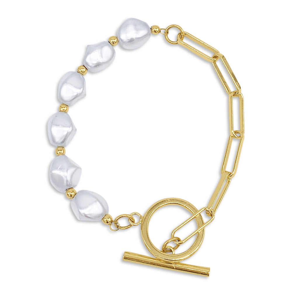 Chain Toggle Pearl Bracelet