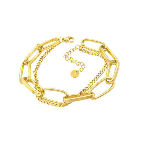Oversized Paper Clip Mixed Chain Bracelet gold